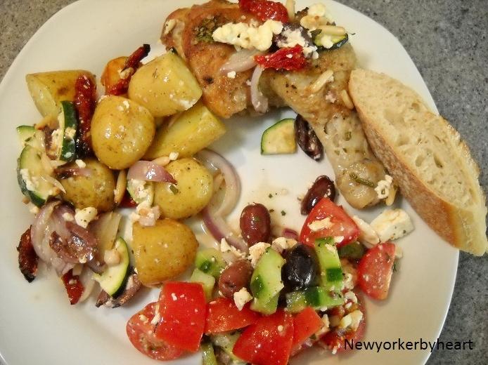 Græsk Kylling Med Feta Squash Og Kartofler