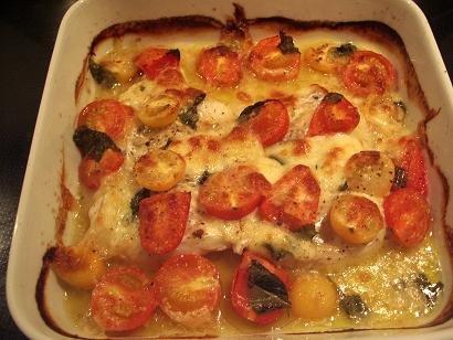 hel torsk i ovn med grøntsager